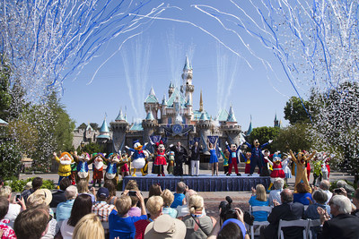 DAZZLING DAY - Mickey Mouse and his friends celebrate the 60th anniversary of Disneyland park during a ceremony at Sleeping Beauty Castle featuring Academy Award-winning composer, Richard Sherman and Broadway actress and singer Ashley Brown, in Anaheim, Calif. on Friday, July 17. Celebrating six decades of magic, the Disneyland Resort Diamond Celebration features three new nighttime spectaculars that immerse guests in the worlds of Disney stories like never before. (Paul Hiffmeyer/Disneyland Resort)