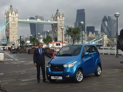 Anand Mahindra, Chairman, Mahindra Group, at the launch of the Mahindra e2o ElectriCity car in UK