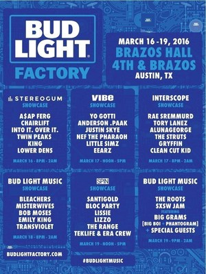 Bud Light announces SXSW 2016 Bud Light Factory showcase lineup