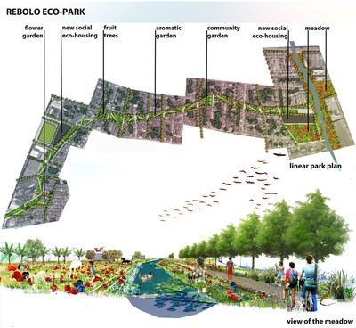 """Rebolo Eco-Park"" designed by Jesus Pertuz of Paris was selected as thewinner of Interface, Inc.'s ""Reconnect Your Space"" competition. The winning entry was inspired by Rebolo, a low-income neighborhood located in Barranquilla, Colombia, a northern part of the country on the Caribbean Sea that serves as a major industrial, maritime port.  (PRNewsFoto/Interface, Inc.)"