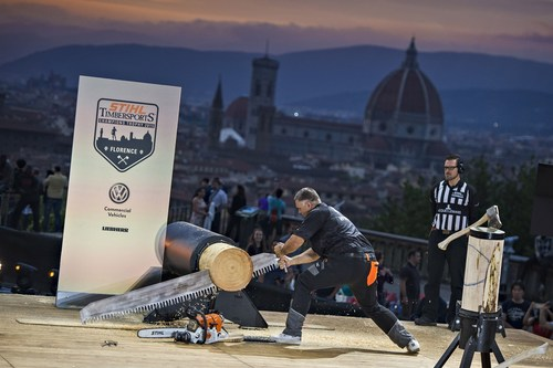 Third placed in the Champions Trophy and six times STIHL TIMBERSPORTS(R) World Champion, Jason Wynyard, fought for hundredths of a second. (PRNewsFoto/STIHL TIMBERSPORTS Series) (PRNewsFoto/STIHL TIMBERSPORTS Series)