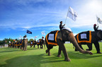 The opening of the 13th Annual King's Cup Elephant Polo tournament began with flags -- and trunks -- held high. The tournament was introduced to Thailand in 2001 by Anantara Hotels, Resorts & Spas and has grown to be one of the largest charitable events in Thailand. (PRNewsFoto/Anantara Hotels, Resorts & Spas)