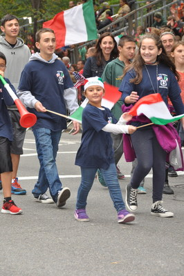 Kids join in the fun during the 2014 Columbus Day Parade in New York City, the world's largest celebration of Italian American heritage and culture organized by the Columbus Citizens Foundation.