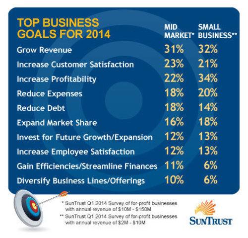 Top Business Goals For 2014 (PRNewsFoto/SunTrust Banks, Inc.)