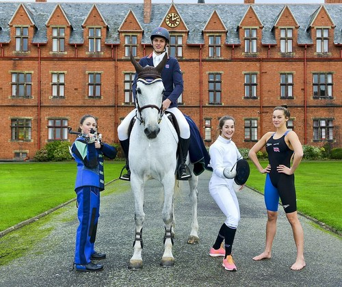 Talented College students who are members of the Great Britain Youth Squad: Will Edwards on the horse, Shannon Davies, Charlotte Dixon and Chloe Golding (PRNewsFoto/Ellesmere College) (PRNewsFoto/Ellesmere College)