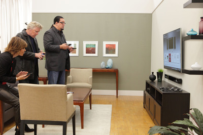 """Lisa Rinna, Gary Busey and Penn Jillette take LG's 55-inch LED Smart TV and LG smart phones for a test drive as Team Plan B finalizes its marketing presentation during the LG episode of """"All-Star Celebrity Apprentice"""" airing on NBC this Sunday, April 28, at 9 p.m. ET/8 p.m. CT.  (PRNewsFoto/LG Electronics USA, Inc.)"""