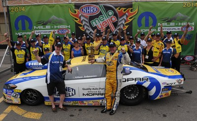 Allen Johnson drives Dodge Dart to a third consecutive win and sixth total at Mopar Mile-High NHRA Nationals (PRNewsFoto/Chrysler Group LLC)