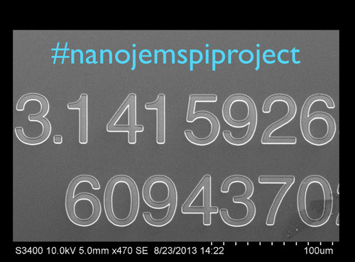 #nanojemspiproject electron microscope image of the top corner of the million digit engraving. Nanojems ...