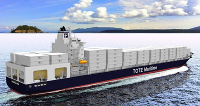 TOTE, Inc. announced today it has committed to the construction of two new state-of-the-art containerships for the Puerto Rico trade, with options for three more vessels for additional domestic service. The agreement with General Dynamics NASSCO represents a major technological milestone in international shipping. These new ships will be the most efficient in the trade. The ship design accommodates five times more 53-foot containers than current ships in Puerto Rico and will allow for the transport of everything from cars to corn syrup. The total capital committed to the project is over $350 million.  (PRNewsFoto/TOTE, Inc.)