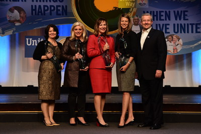 United Way Worldwide Honors Recognition Award recipients (from left): Laura Johns, Director Corporate Relations, The UPS Foundation; Mara Sovey, President, The John Deere Foundation; Laura MacNeil, Executive Vice President, Wells Fargo; Jenny Lewis, Vice President, Kimberly-Clark Foundation; and Brian Gallagher, President and Chief Executive Officer, United Way Worldwide