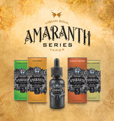 "Announcing the launch of Amaranth Vapor from Liquid Soul Vapor! Discover flavors that never fade, with four blends reminiscent of the tastes enjoyed during the Mexican ""Dia De Los Muertos"" celebration with Churro, Cocoa Berry, Limon Dulce, and Crema Caramel. These four introductory blends are offered in 0mg, 3mg, and 6mg nicotine levels in 30ml Child Resistant Certified glass bottles and a beautiful premium gift box."