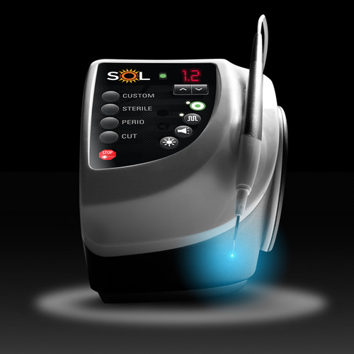 SOL(TM), the desktop dentistry laser redefines performance expectations. SOL's ergonomics, easy-to-use interface, and high-contrast blue aiming beam combine to make laser dentistry simpler and more efficient than ever. SOL brings smart technology to the dental practice, cost effectively.  (PRNewsFoto/DenMat)