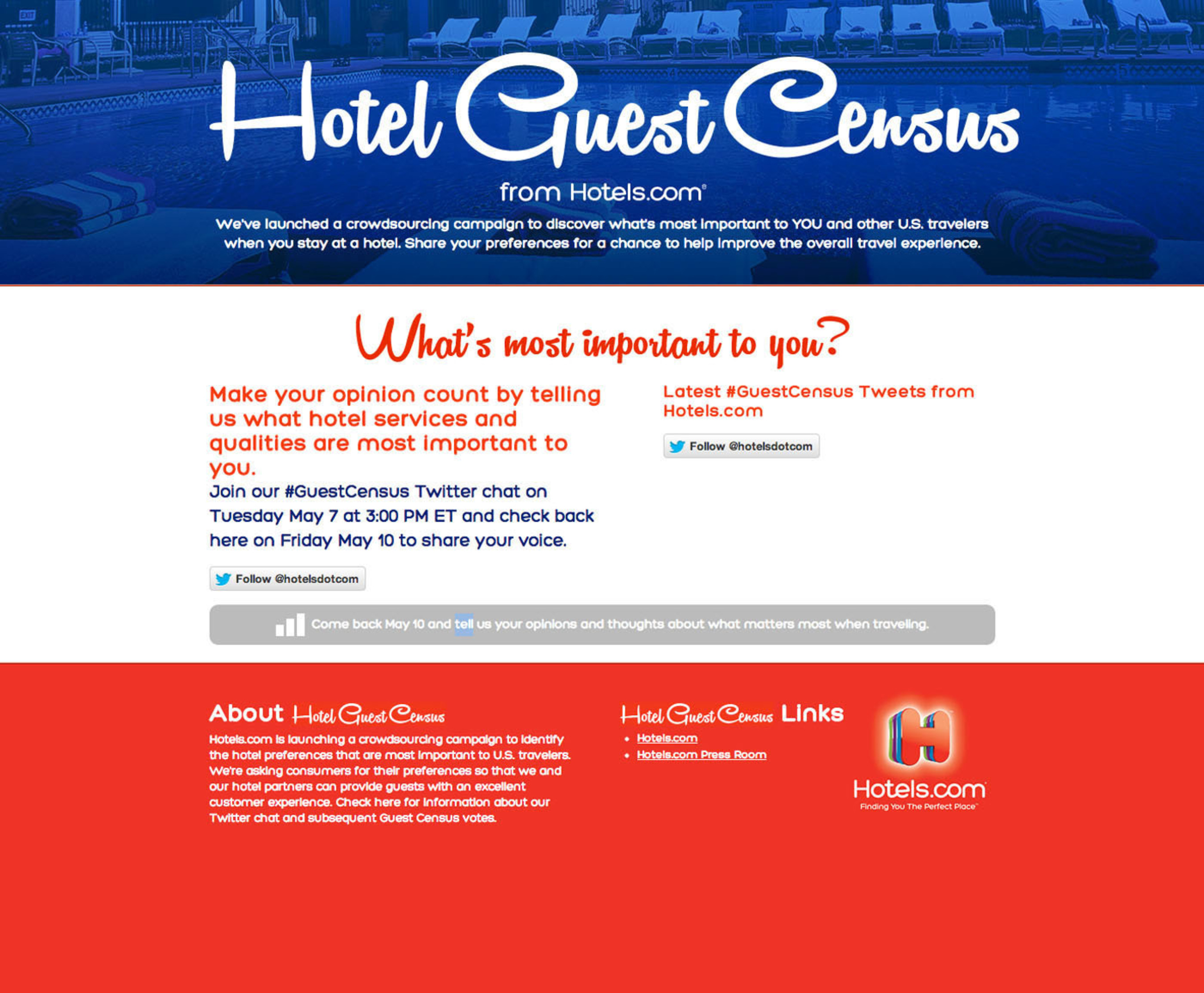 Participate in the Hotels.com #GuestCensus Twitter chat for the chance to win promotional giveaways by visiting the @Hotelsdotcom Twitter handle on Tuesday, May 7 from 3:00 to 4:00 PM ET.  (PRNewsFoto/Hotels.com)