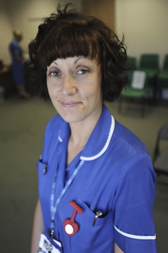 Community nurse Claire Osborne who features in the recruitment campaign. (PRNewsFoto/Derbyshire Community NHS)