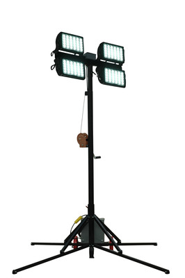 The WALTP-CU12-4X150W-LED portable light tower has a removable quad light head assembly mounted on top of a four leg aluminum quadpod equipped with 10 inch wheels for easy positioning of the unit from one area of the workspace to another. The light assembly on this unit produces a wide flood pattern of light that is ideal for illuminating large workspaces and job sites. This light is designed for heavy duty use in demanding conditions including emergency services, mining, construction, marine, and industrial operations where durability and portability is important.  (PRNewsFoto/Larson Electronics)
