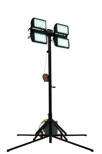 The WALTP-CU12-4X150W-LED portable light tower has a removable quad light head assembly mounted on top of a ...