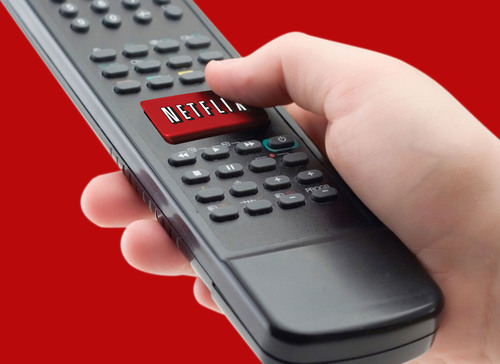A representation of the Netflix one-click remote available on many consumer electronics devices this spring.  (PRNewsFoto/Netflix, Inc.)