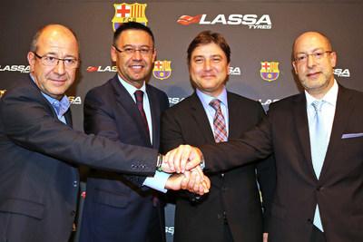 Vice President of FC Barcelona Manel Arroyo; FC Barcelona President Josep Maria Bartomeu; Brisa Board Member, Hakan Bayman; Brisa General Manager, Yigit Gurcay (PRNewsFoto/Lassa Tyres and Brisa) (PRNewsFoto/Lassa Tyres and Brisa)