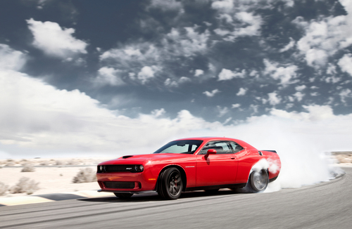 The 2015 Dodge Challenger SRT with Hellcat HEMI V-8 engine is rated at 707 hp. (PRNewsFoto/Chrysler Group LLC)