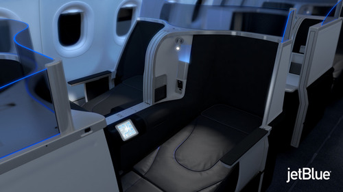 JetBlue Airways Reinvents Transcontinental Premium Travel with new lie-flat seat.  (PRNewsFoto/JetBlue Airways)