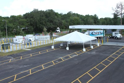 TruStar Energy's first public fueling station in Orlando, Florida is equipped with four traffic lanes and two fueling islands, providing easy access for commercial vehicles and private CNG-powered consumer vehicles.