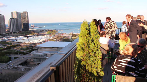2nd Fridays visitors enjoy panoramic views from the Cliff Dwellers Club in Chicago. (PRNewsFoto/Chicago ...