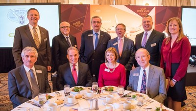 James Hogan, President and Chief Executive Officer of Etihad Airways (seated second from left) and Mary Ellen Jones, The Wings Club President and Vice President, Sales - Asia Pacific and China, Pratt & Whitney (seated third from left) along with Board of Governors Members at The Wings Club Luncheon at The Yale Club on April 21, 2016 in New York, NY.