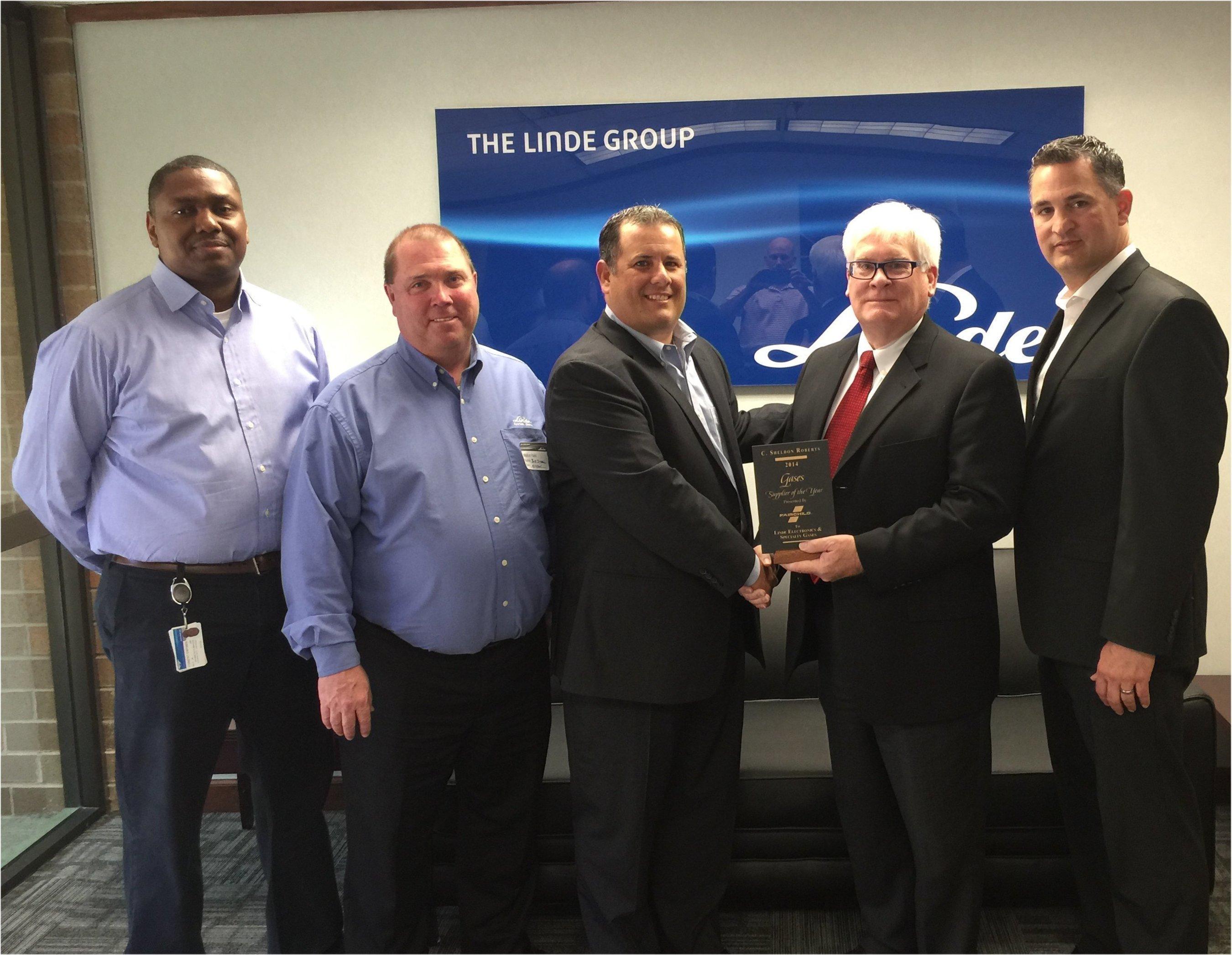 Left to Right: Linde senior executives Terrance Caldwell, Bob Iversen, Rob Capellman, Jay Brennan senior manager from Fairchild Semiconductor Corporation and Matt Adams (Linde).
