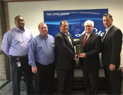 Left to Right: Linde senior executives Terrance Caldwell, Bob Iversen, Rob Capellman, Jay Brennan senior manager from Fairchild Semiconductor Corporation and Matt Adams (Linde).