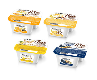 Chobani Flip(TM) Greek Yogurt pushes the boundaries of yogurt creativity. Chobani Flip features dynamic pairings of authentic strained Greek Yogurt complemented by innovative mix-ins such as chia seeds, hemp seeds and pistachios.  The four new varieties are inspired directly from the unique yogurt creations served at Chobani SoHo(SM), the brand's innovative retail store in New York City.  (PRNewsFoto/Chobani)