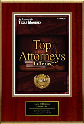 Attorney Dale Jefferson Selected for List of Top Rated Lawyers in TX. (PRNewsFoto/American Registry) (PRNewsFoto/AMERICAN REGISTRY)