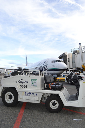 Alaska Airlines has purchased 204 electric vehicles in operation on the ground at its Seattle hub.  (PRNewsFoto/Alaska Airlines)
