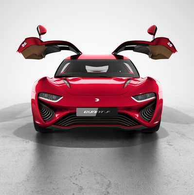 """Front view of the new QUANT F developed by nanoFlowcell AG with """"QUANTeYES"""" front lights and open gull-wing-doors."""
