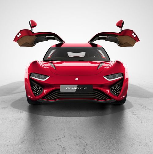 """Front view of the new QUANT F developed by nanoFlowcell AG with """"QUANTeYES"""" front lights and open gull-wing-doors. (PRNewsFoto/nanoFlowcell AG)"""