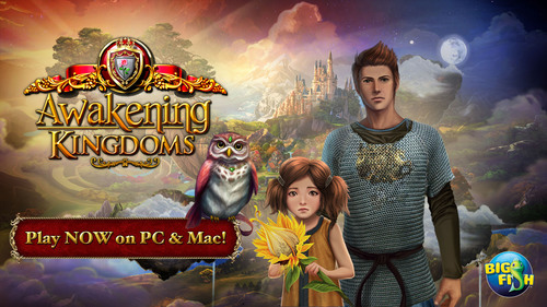 """The Awakening series, developed by Boomzap Entertainment and downloaded over 9 million times on PC, Mac and mobile devices, is one of the most popular hidden object adventure series available on Big Fish Games. The new game, """"Awakening Kingdoms"""", is a fantastic new way to experience this world, whether as an existing fan or someone new to the series. Embark on quests exploring the Skyward Kingdom, searching through hidden object scenes for needed objects to complete your journey, and complete mini games to earn the gold you will need to restore the royal castle, and surrounding villages. (PRNewsFoto/Big Fish) (PRNewsFoto/BIG FISH)"""