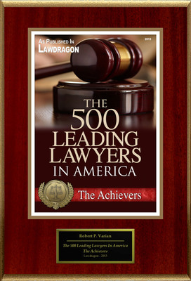 """Robert P. Varian Selected For """"The 500 Leading Lawyers In America"""". (PRNewsFoto/American Registry) (PRNewsFoto/AMERICAN REGISTRY)"""