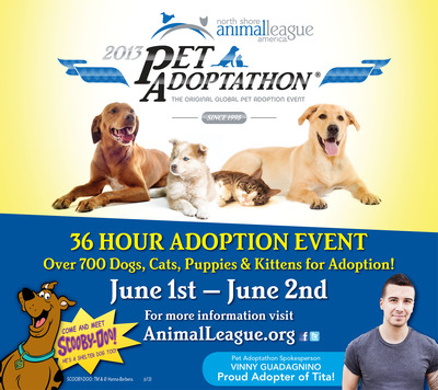 North Shore Animal League America - Home of the Mutt-i-gree(R) and the world's largest no-kill rescue and adoption organization - announced that nearly 3,000 shelters in 50 states, Puerto Rico, the U.S. Virgin Islands and six countries will join together for Pet Adoptathon Month in June.  Vinny Guadagnino, Animal League America Supporter and Host of MTV's The Show With Vinny, will serve as national spokesperson for this life-saving event sponsored by Purina ONE(R) brand pet food.  (PRNewsFoto/North Shore Animal League America)