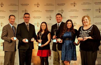 Stevie Award Winning VIZIO team members pictured left to right: Rob Brinkman, Scott Patten, Rose Ann King, Derek Teut, Bryna Sanchez, Greta Rogers.  (PRNewsFoto/VIZIO, Inc.)