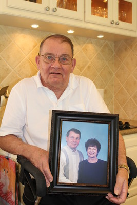 Gregory Gedovin, 70, holds a photo of himself and his wife Joyce. He was her caretaker for three years until she lost her battle with Alzheimer's in February. As is often the case, he neglected his health as he focused on hers. WellCare of Texas nurse Michelle Cooper provided the support he needed during his difficult transition to widower and helped him get back on the road to health.