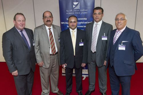 (l-r) Matthew Smith, director general of the Middle East Association, Ali Fahmi, director of customer services, Rishi Somaiya, director of sales and marketing, Nadar Eldesouky, deputy general manager (all from The Ajman Free Zone) and Abdeslam El-Idrissi, director of trade services, Arab-British Chamber of Commerce. (PRNewsFoto/Big Cat Group)