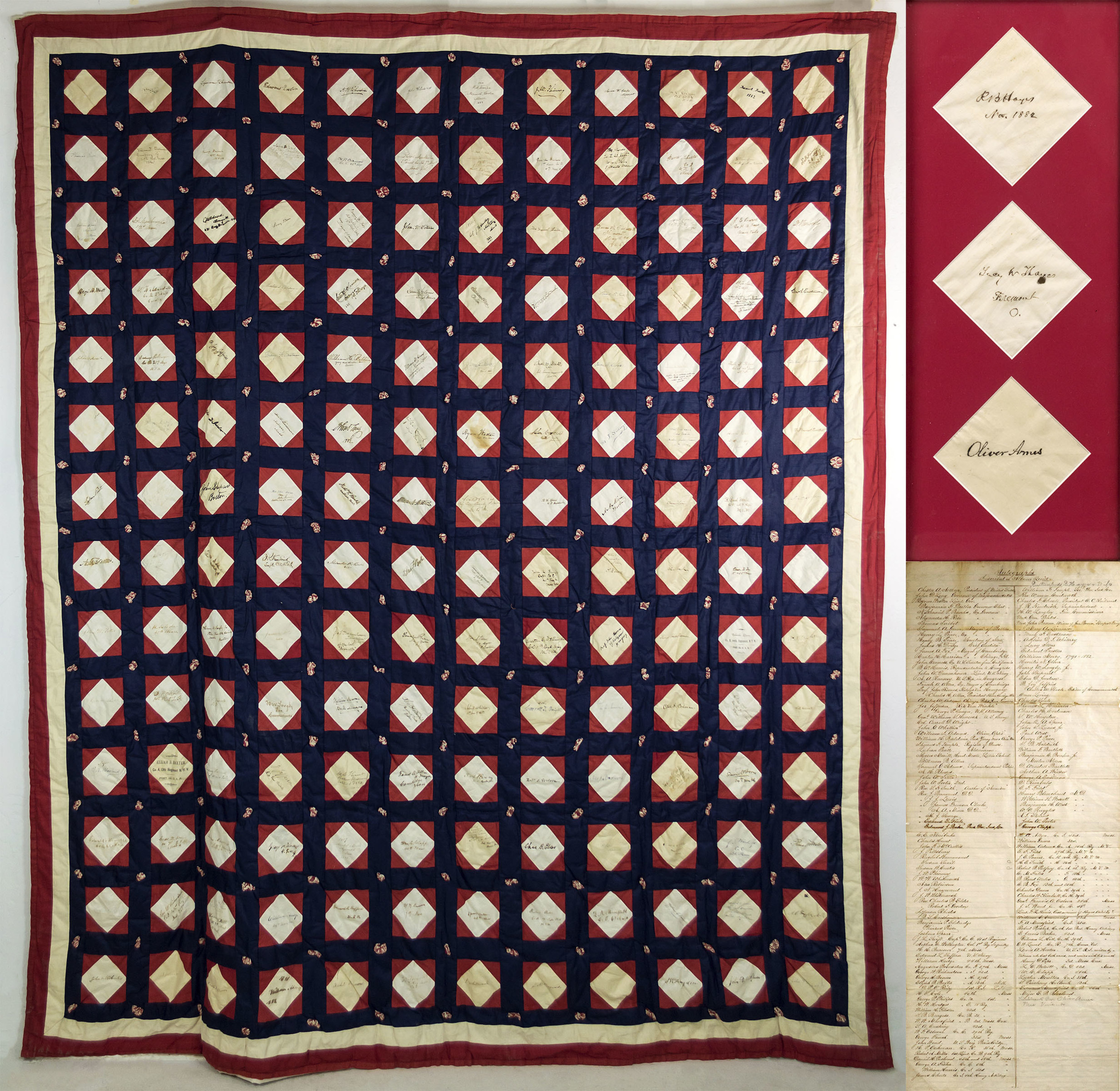 A quilt signed by 19th century presidents, Chester A. Arthur and Rutherford B. Hayes, is among the highlights of a three-day Americana auction at J. Levine Auction & Appraisal, set for Thursday, Friday and Saturday, July 28, 29 & 30 in Scottsdale, Arizona. www.jlevines.com