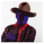 "Auctionata Presents Modern & Contemporary Art Auction, featuring Andy Warhol's ""John Wayne,"" a trial proof in a unique combination of colors, aside from the regular portfolio of Cowboys and Indians."