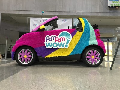 "Maya Toys' ""Pom Pom Your World"" event unveiled at Toy Fair 2016. Approximately 15,000 Pom Pom Wow (a new arts-and-crafts brand) pom-poms were applied to a car."
