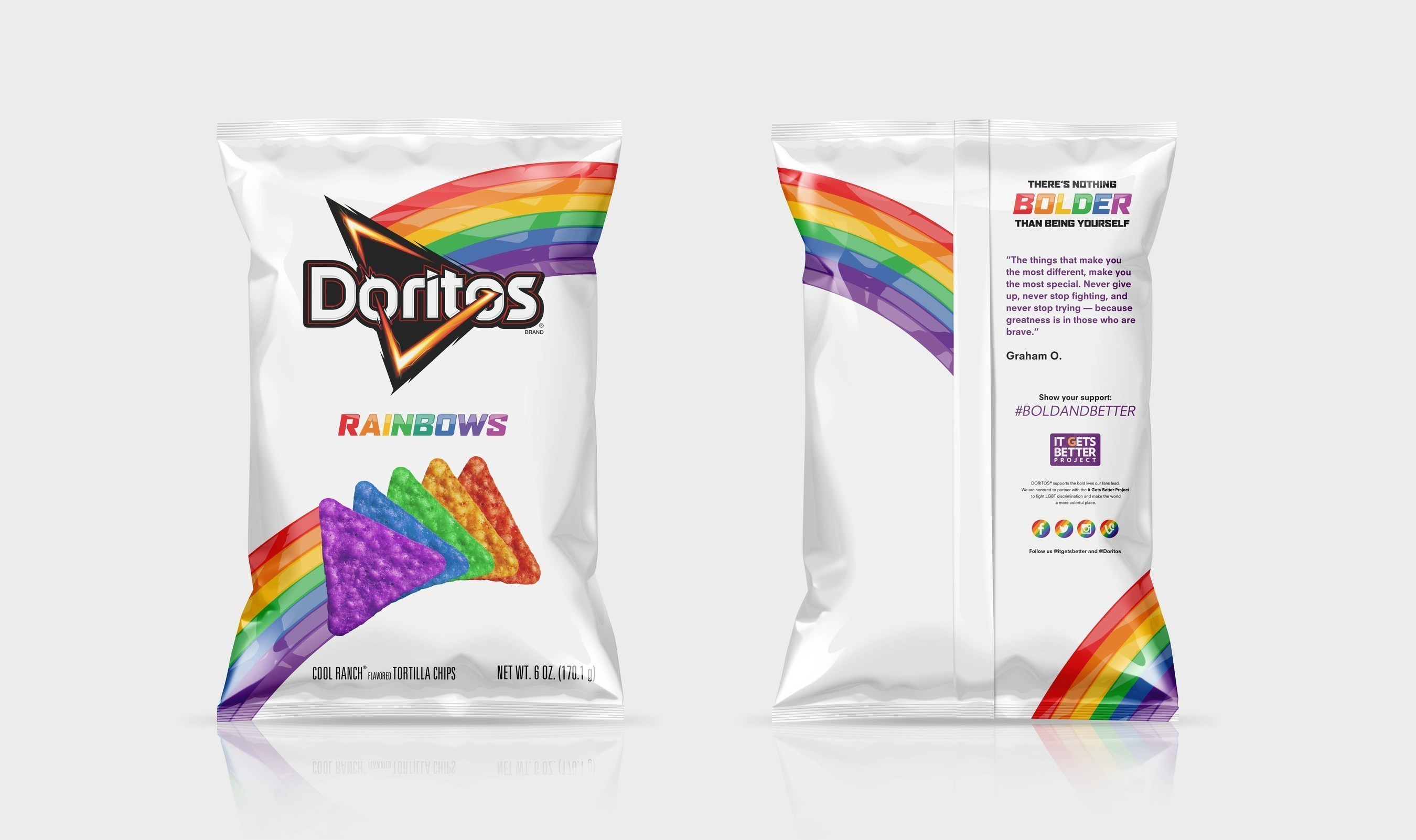 The Doritos brand, in partnership with the It Gets Better Project, launches Doritos Rainbows chips, a new, limited-edition product to celebrate the LGBT community. ; Get your bag while supplies last and learn more at: ItGetsBetter.org/DoritosRainbows
