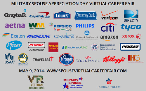 Industry leading companies team up to hire Military Spouses in the Military Spouse Appreciation Day virtual career fair. (PRNewsFoto/Veteran Recruiting)