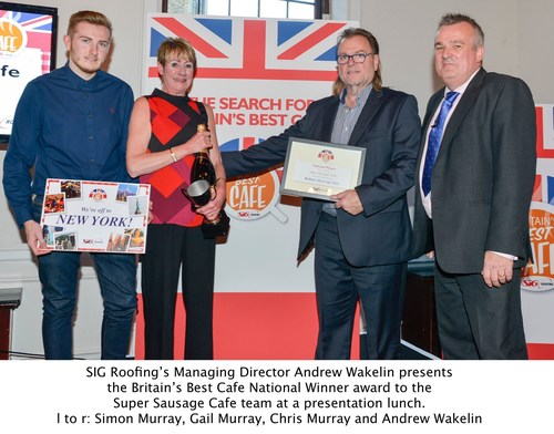 SIG Roofing's Managing Director Andrew Wakelin presents the Britain's Best Cafe National Winner award to the Super Sausage Cafe team at a presentation lunch. l to r: Simon Murray, Gail Murray, Chris Murray and Andrew Wakelin (PRNewsFoto/SIG Roofing)