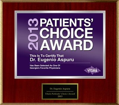 Dr. E.J. Aspuru of Atlanta, GA Named a Patients' Choice Award Winner for 2013 (PRNewsFoto/American Registry)