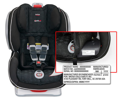 "Locating the car seat DOM label: The DOM label is located under the car seat cover to the right of the ""ClickTight"" dial."