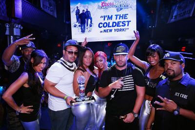 Rapper Mr. Hyde, holding trophy, after winning the 2013 Coors Light Search for the Coldest contest, judged by rapper, Bun B, far left, DJ Drama, center right, and rapper, actor, and producer, Ice Cube, far right. (Photo courtesy of MillerCoors/John Minchillo).  (PRNewsFoto/MillerCoors, John Minchillo)