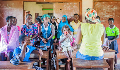 Girls learn about menstrual hygiene management and other health issues from a trusted teacher at their school in Ghana. Photo courtesy EPF Educational Empowerment Initiative, a Ghanaian nonprofit organization dedicated to supporting vulnerable children in Ghana.